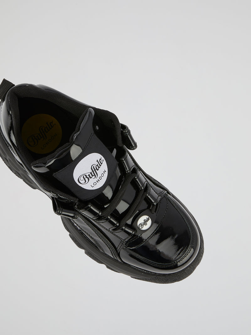 Black Patent Calf Leather Sneakers