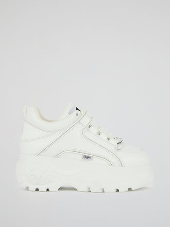 White Calf Leather Platform Sneakers