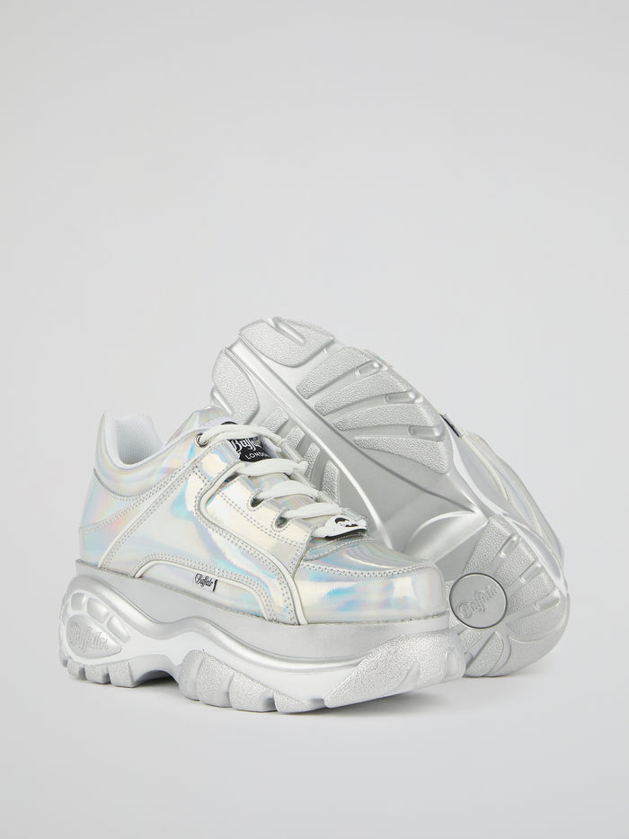 Iridescent Leather Platform Sneakers