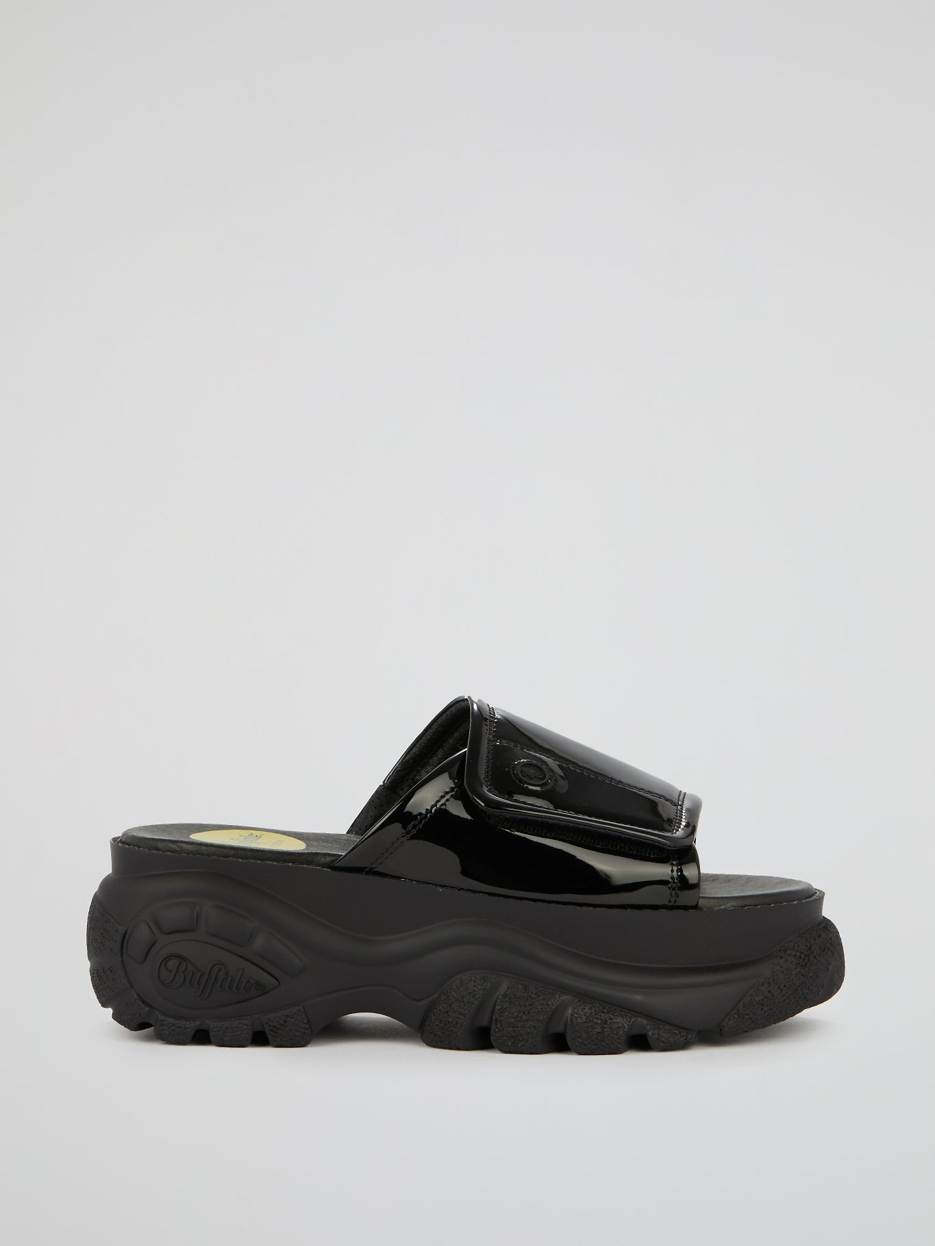 Black Chunky Sole Leather Slides