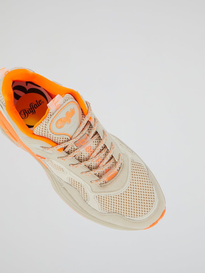 Crevis P1 Mesh Panel Leather Sneakers