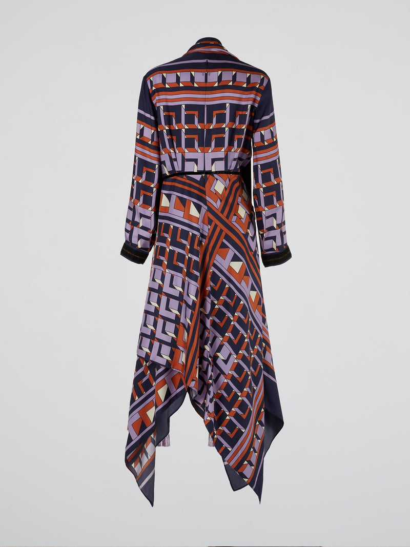 Printed Silk Twill Midi Dress