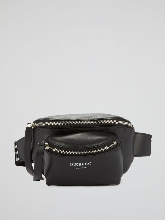 Black Leather Money Belt