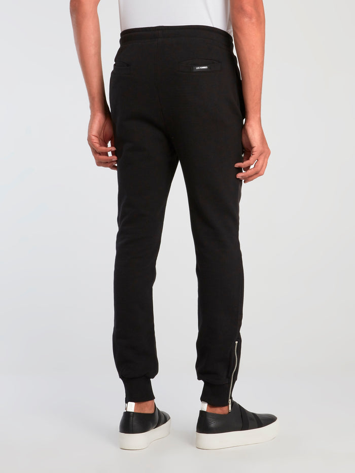 Black Zipper Pocket Sweatpants