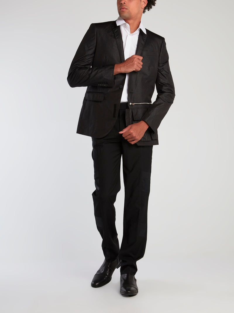 Black Zipper Pocket Blazer