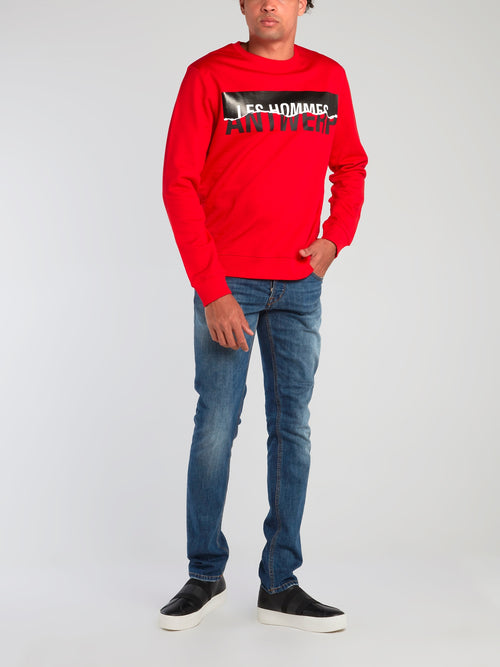 Red Antwerp Print Sweatshirt