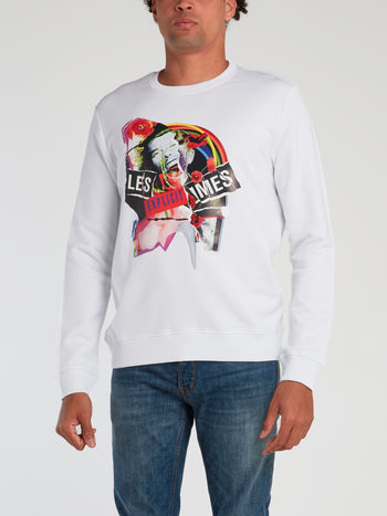 White Explicit Collage Print Sweatshirt