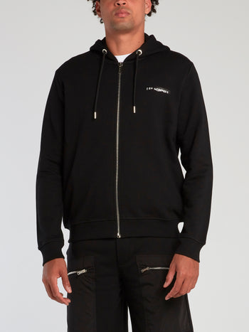 Black Ripped Logo Zip Up Hoodie