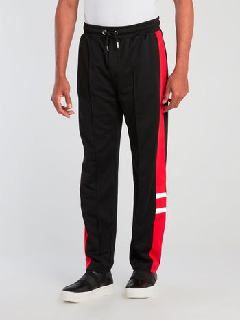 Black Drawstring Acetate Sweatpants