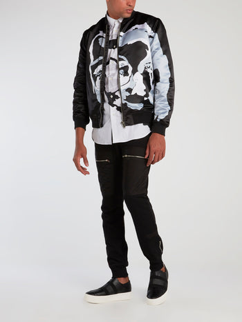 Black Surrealistic Face Print Bomber Jacket