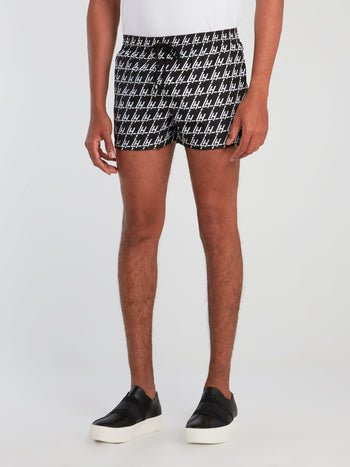 Monogram Print Drawstring Swim Shorts