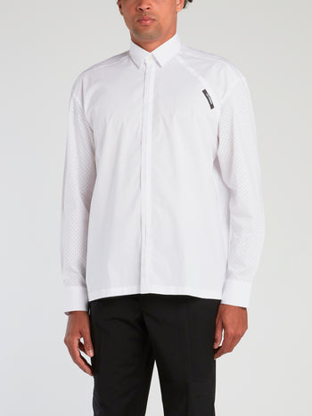 White Velcro Patch Long Sleeve Shirt
