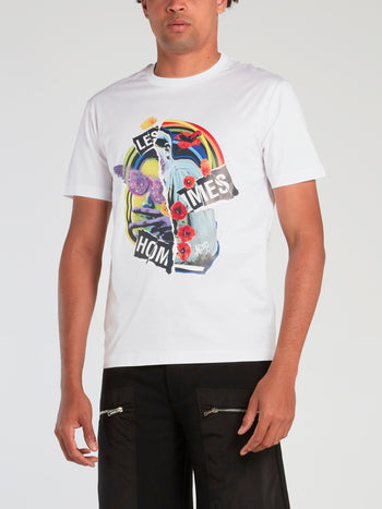 White Collage Print T-Shirt