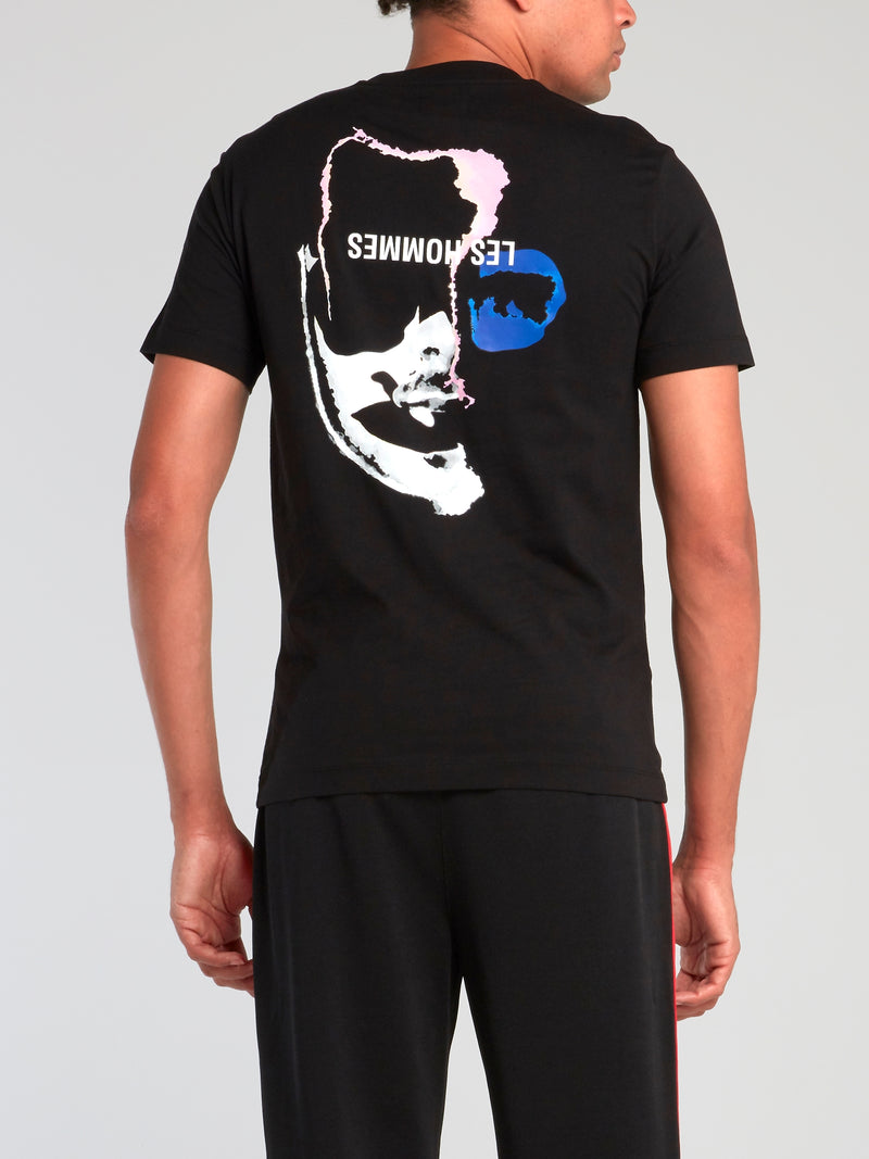 Black Rear Graphic Face Print T-Shirt