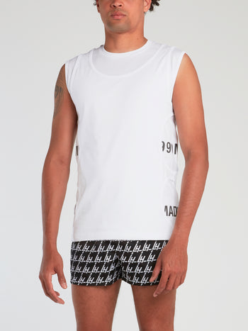 White Cut Out Sleeveless T-Shirt