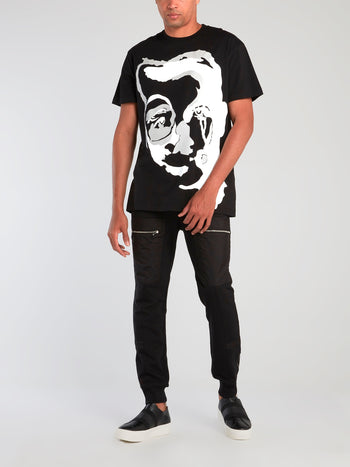 Black Graphic Face Print T-Shirt