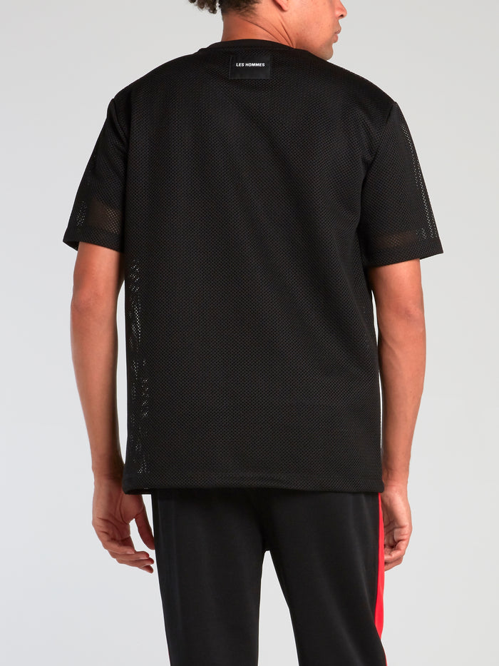 Black Net Mesh Logo T-Shirt