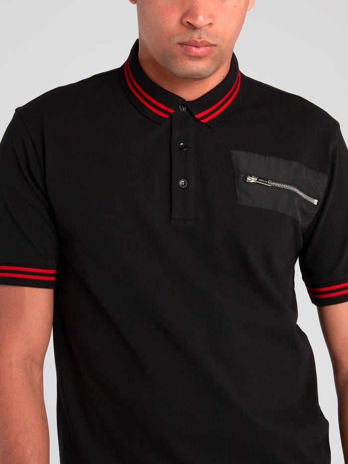 Black Stripe Trim Polo Shirt