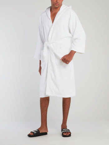 White Logo Embroidered Bathrobe