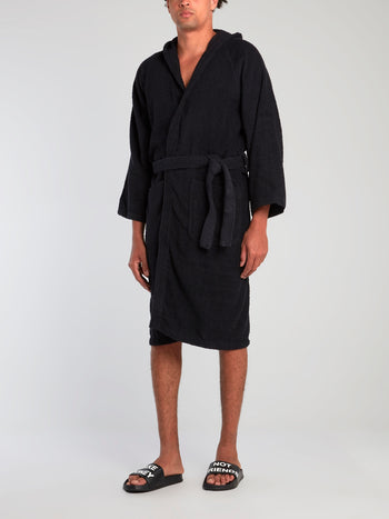 Black Logo Embroidered Bathrobe