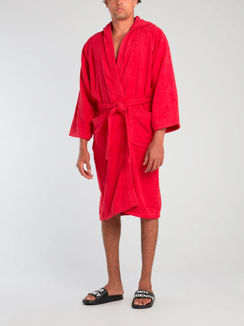 Red Logo Embroidered Bathrobe