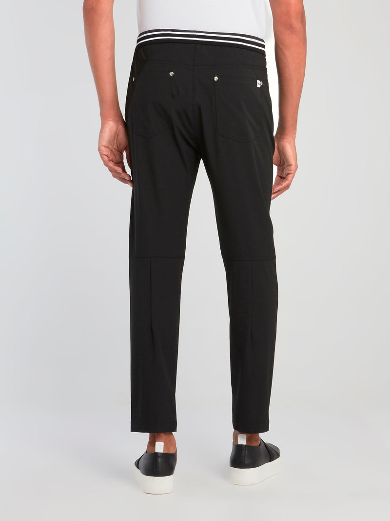 Black Knee Patch Drawstring Trousers