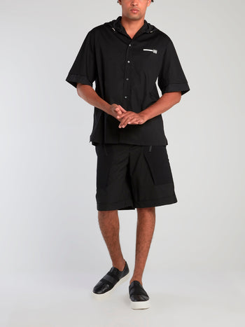 Black Front Pocket Detail Shorts