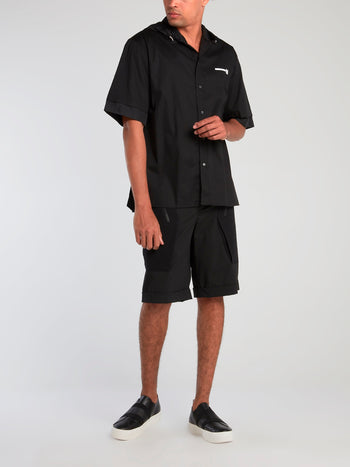 Black Hooded Nylon Shirt