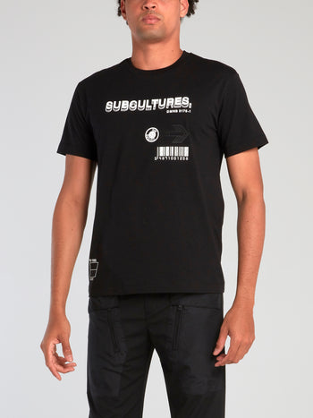Black Subculture Print T-Shirt