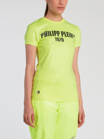 Neon All Over Strass Logo T-Shirt