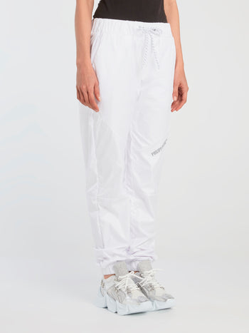 White Nylon Track Trousers