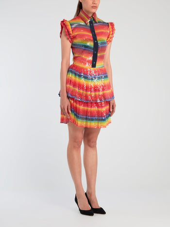 Rainbow Paillette Mini Dress