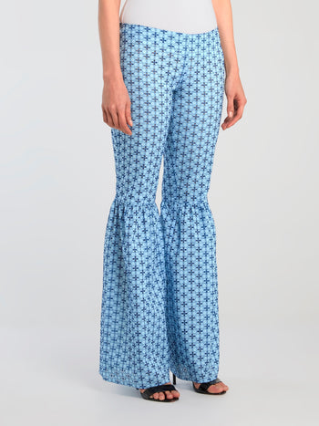 Blue Embroidered Flared Trousers