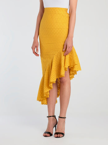 Yellow Asymmetric Mermaid Skirt