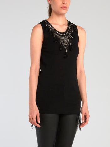 Black Tassel Detail Sleeveless Top