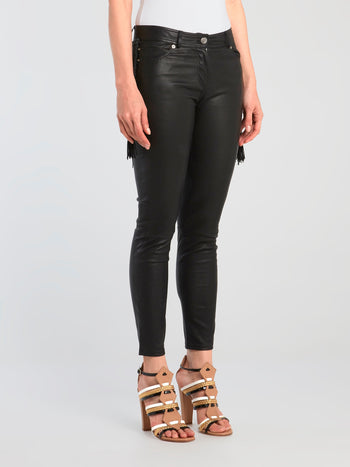 Black Tassel Detail Leather Pants