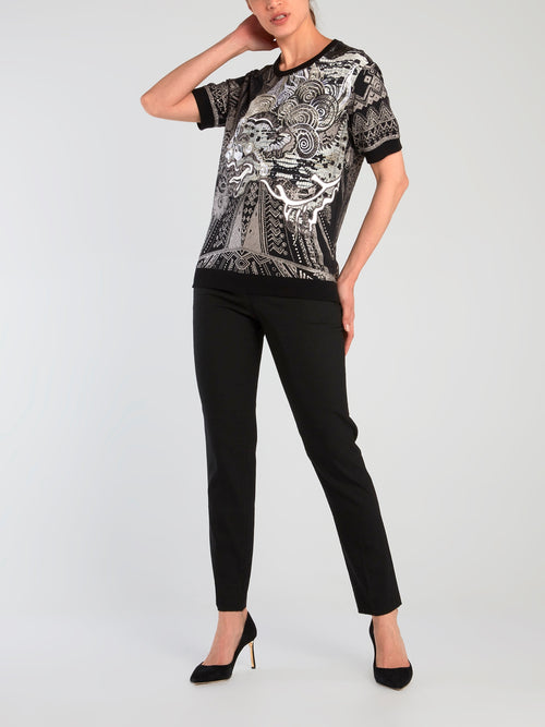 Black Oriental Embroidered Top