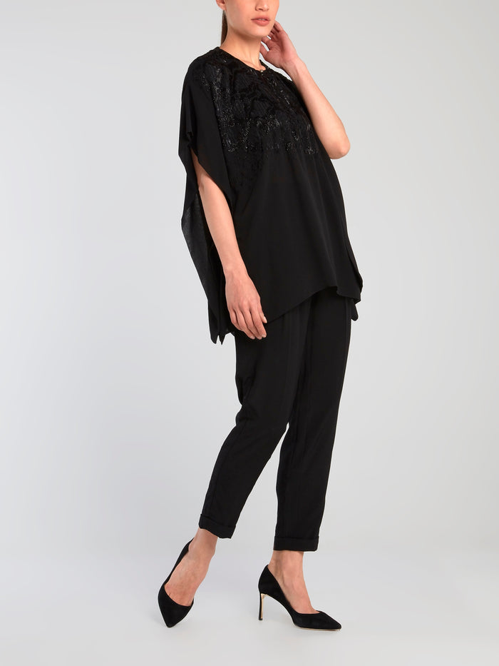 Black Embellished Chiffon Top
