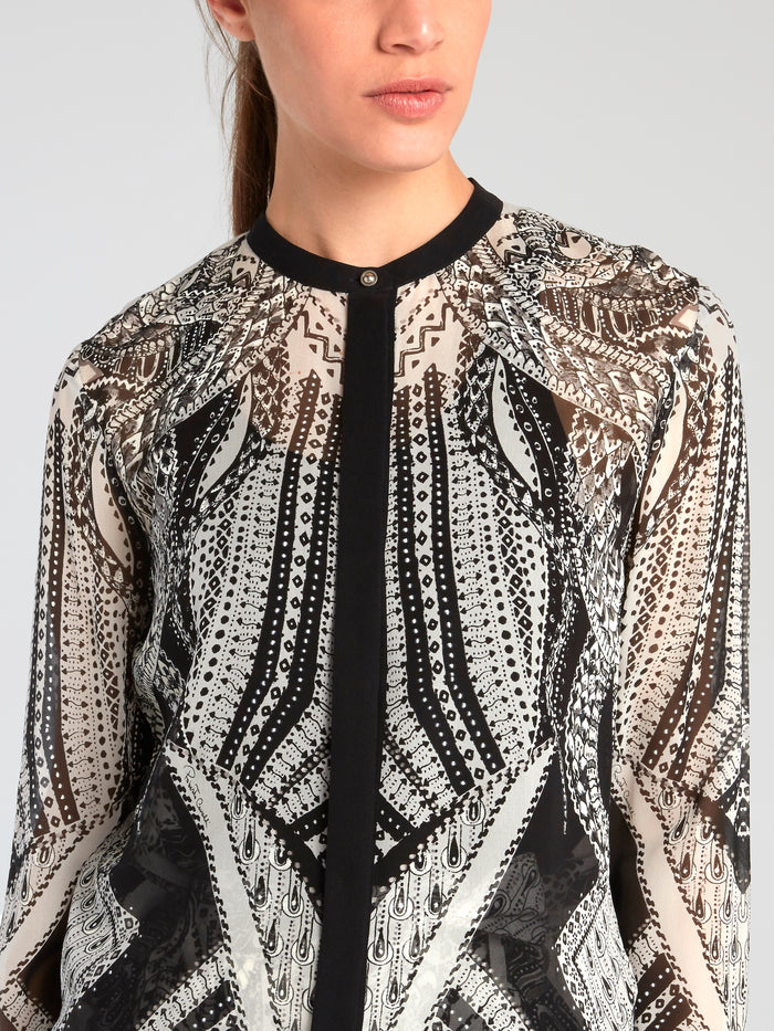 Tribal Print Chiffon Blouse