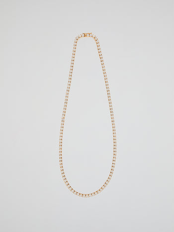 "Gold Diamond Tennis Link Necklace (22"" 4mm)"