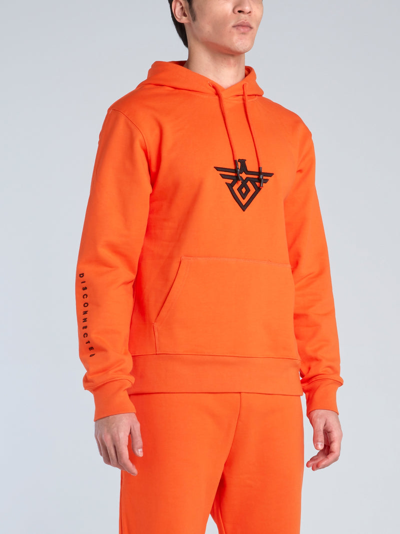 Orange Monogram Drawstring Hoodie