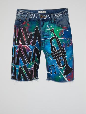 Hava Splatter Frayed Shorts