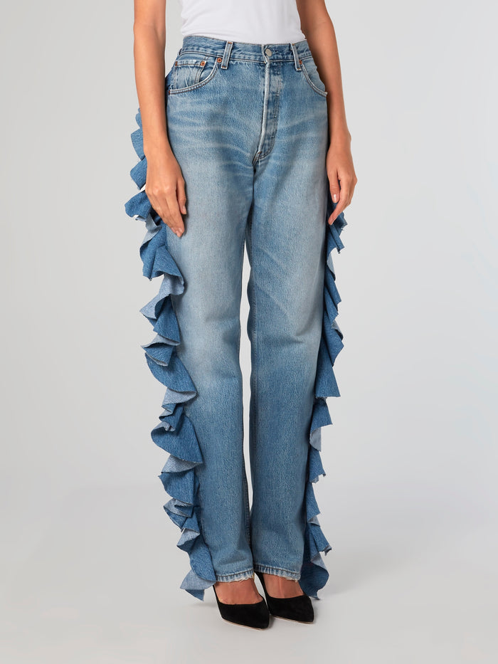 Ruffle Trim Wide Leg Denim Jeans