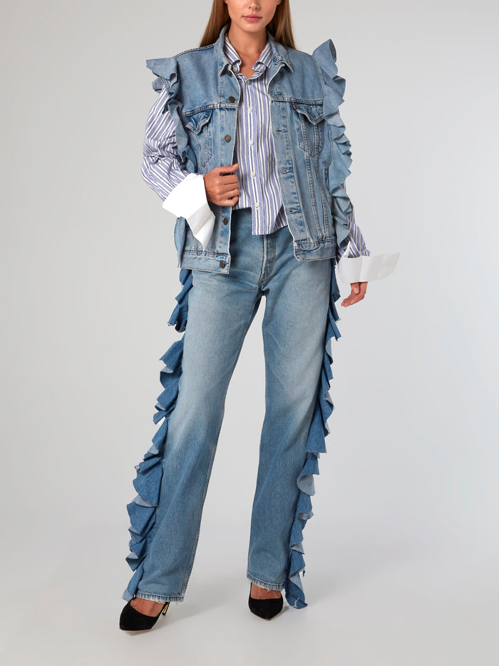 Ruffle Trim Sleeveless Jean Jacket
