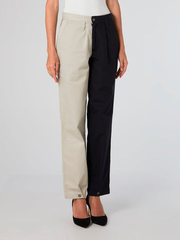 Two-Tone Chino Pants