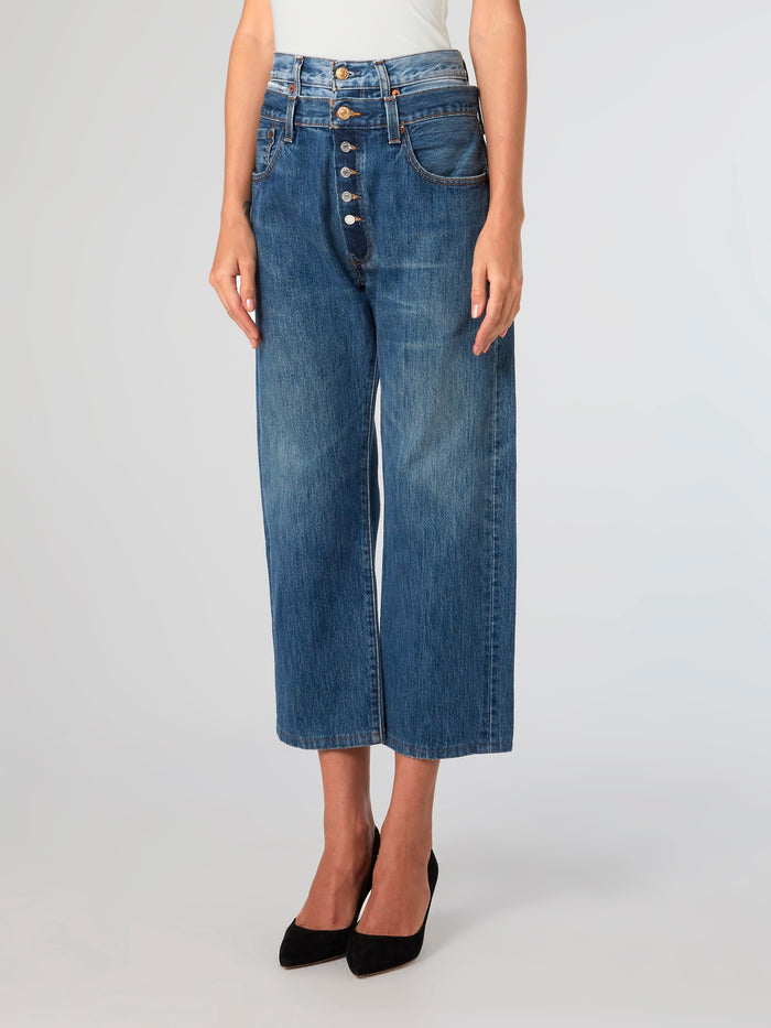 Double Waist Cropped Jeans