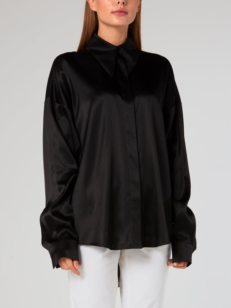 Black Oversized Silk Blouse