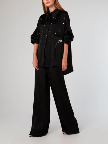Crystal Embellished High-Low Shirt
