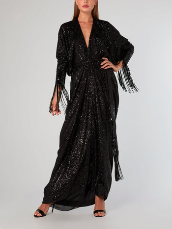 Black Fringe Detailed Sequin Dress