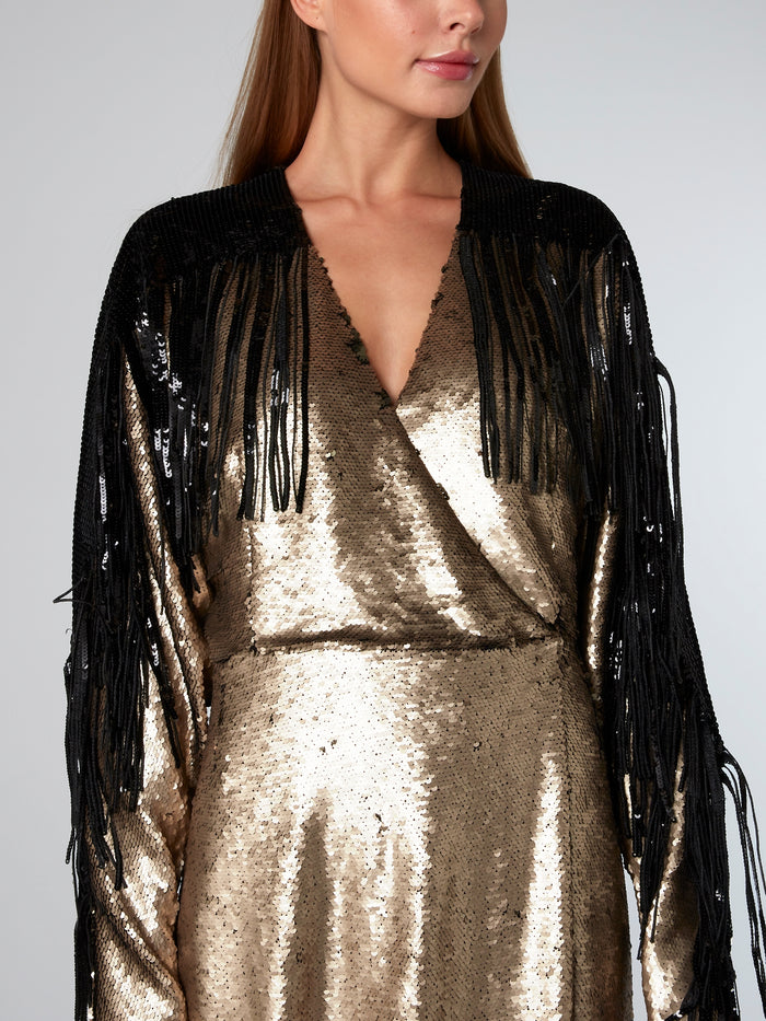 Gold Fringe Detailed Paillette Dress